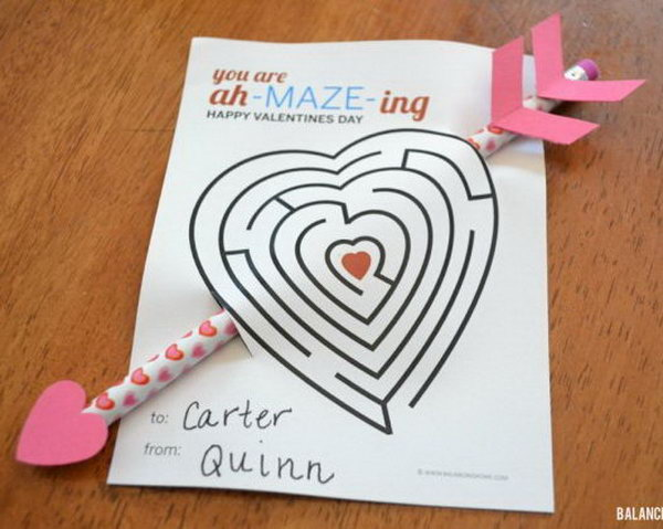 A cute arrow pencil Valentine's Day card that reads 'you are ah maze ing'. Creative Valentine Cards that stand out from those of his classmates through the use of clever, interesting sayings. A fun play on words.