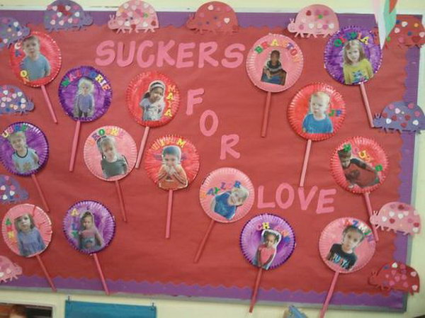 Suckers For Love: This fun bulletin board for Valentine's Day was created by preschool teacher Tiffany Clark and her kiddos.