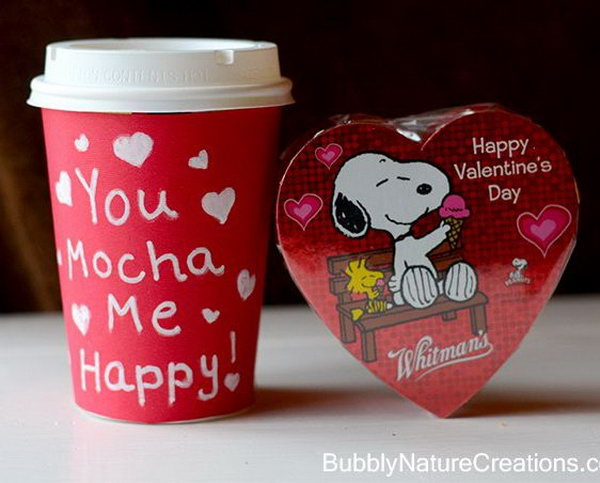 Valentines Ideas for the Coffee Lover. When it comes to Valentines day, you can't go wrong with coffee AND chocolate right? Especially when Snoopy and Woodstock are involved. http://hative.com/cute-valentines-day-ideas/