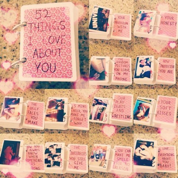 52 Things I Love You About. What a simple and romantic gift idea for Valentines Day. Your man can always look back on these cards to know how much you care for him.