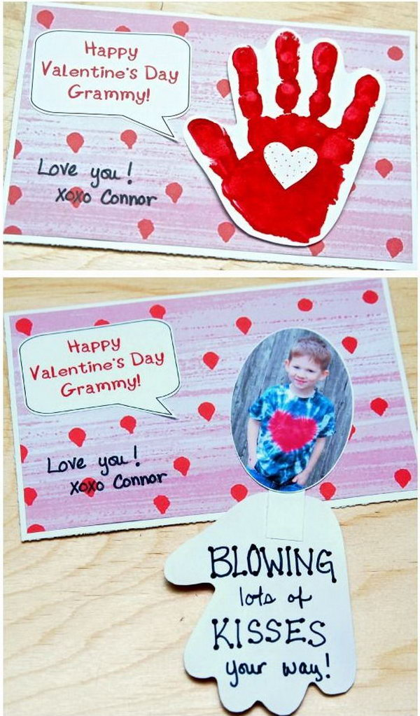 Handprint Valentine's Day Card   Blowing Kiss Your Way, http://hative.com/cute-valentines-day-ideas/