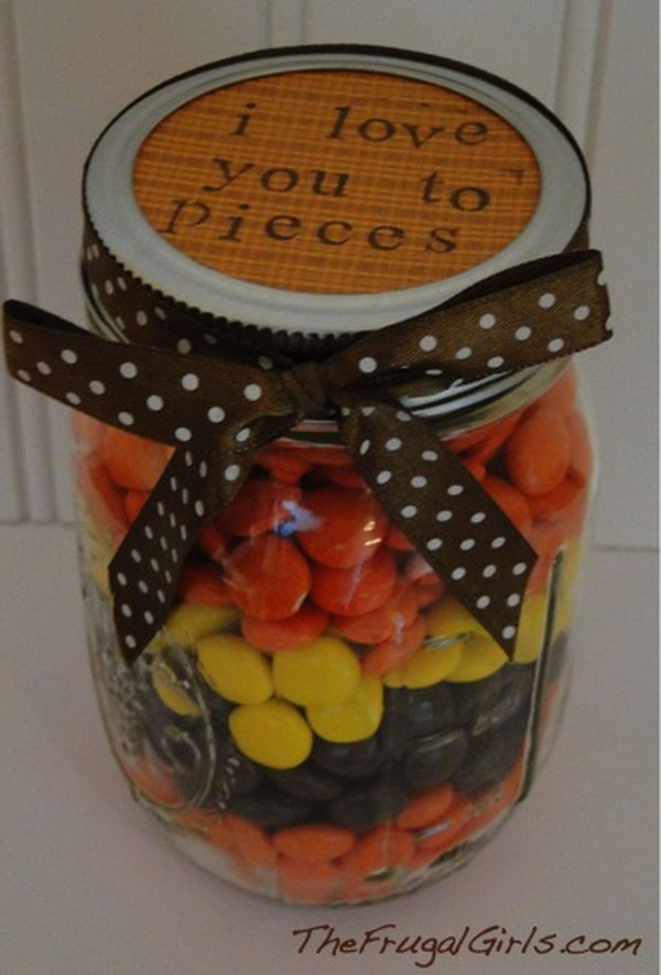 I Love You To Pieces. Gifts in a jar are so simple to make, and SO fun to receive! http://hative.com/cute-valentines-day-ideas/