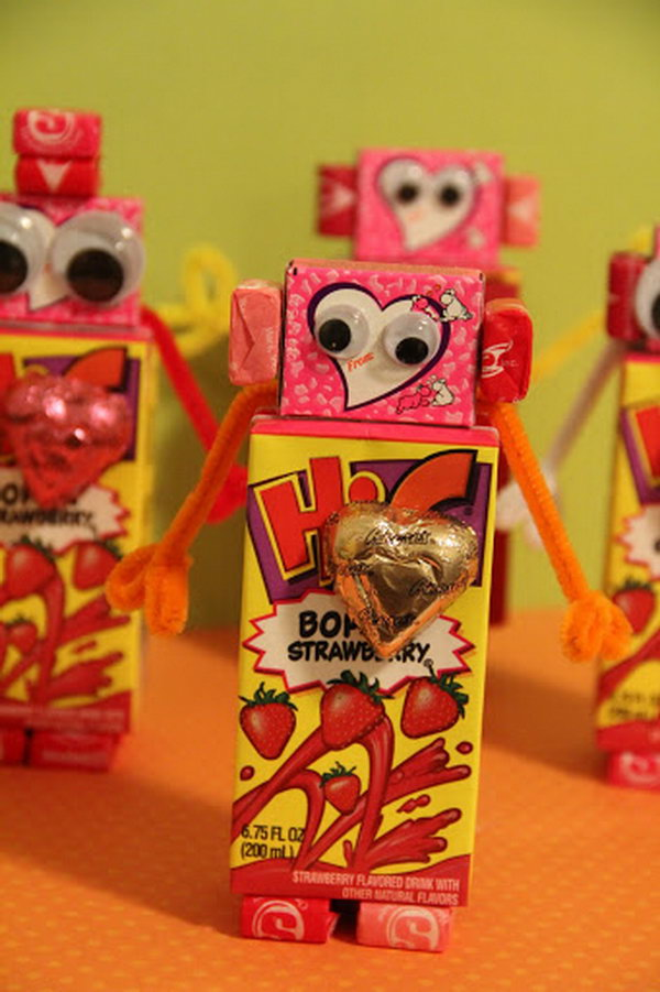 Valentines Robot, http://hative.com/cute-valentines-day-ideas/