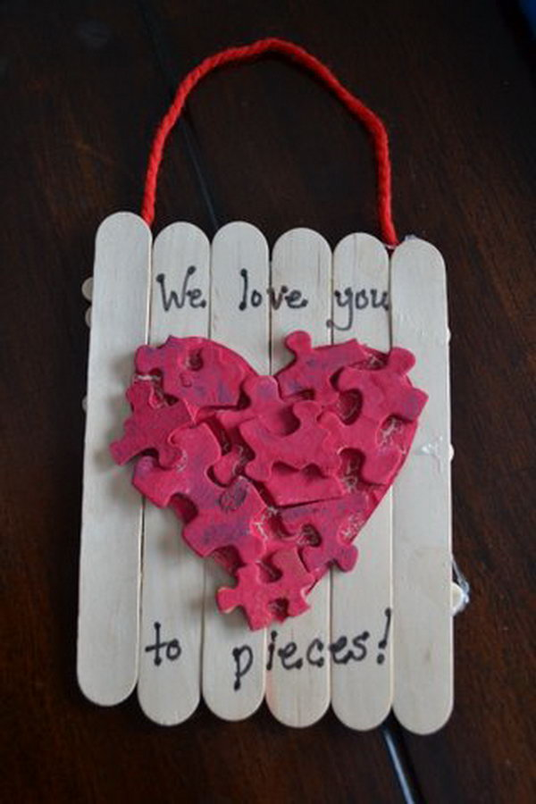 We love you to pieces! Toddler Valentine's Gifts Made with Recycling Puzzle Pieces.