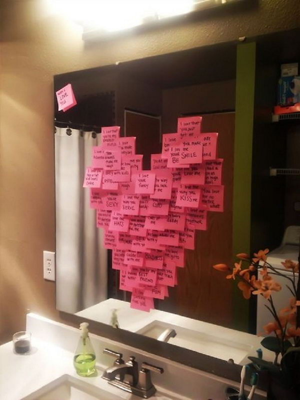 Write a different reason why you love them on each post it note. http://hative.com/cute-valentines-day-ideas/