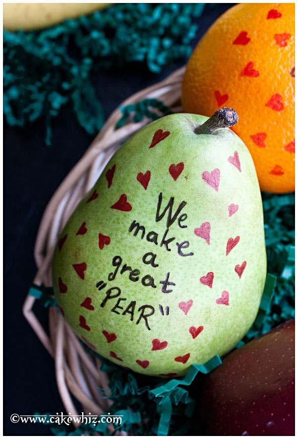 We make a great pear. It would be fun to make with kids or surprise them by putting these adorable fruits in their school lunch boxes or even hubby's lunch box. http://hative.com/cute-valentines-day-ideas/