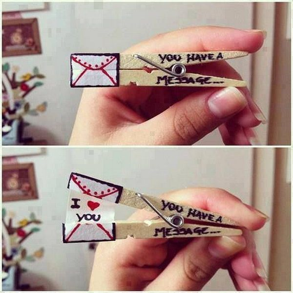 What an interesting valentines day idea to say 'I love you' with a clothespin. http://hative.com/cute-valentines-day-ideas/