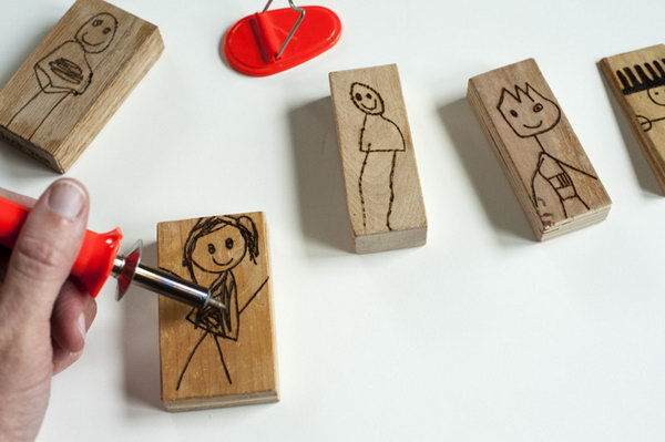 Draw figures on the wood blocks and trace over the drawings and make some doll blocks. Kids would have a great time acting out scenes with the characters they made.