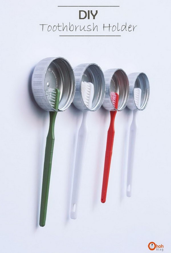 Use these recycled bottle caps to store your toothbrushes,