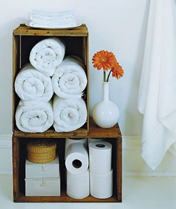 Rolled Towels In Bathroom: 20 Clever Bathroom Storage Ideas