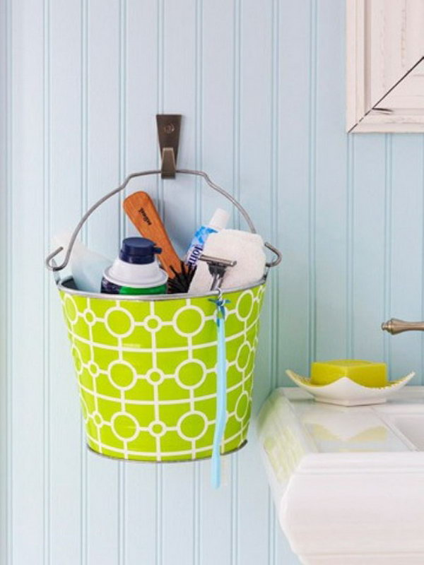 metal buckets hanging on the wall would be cute in a kids 39 bathroom