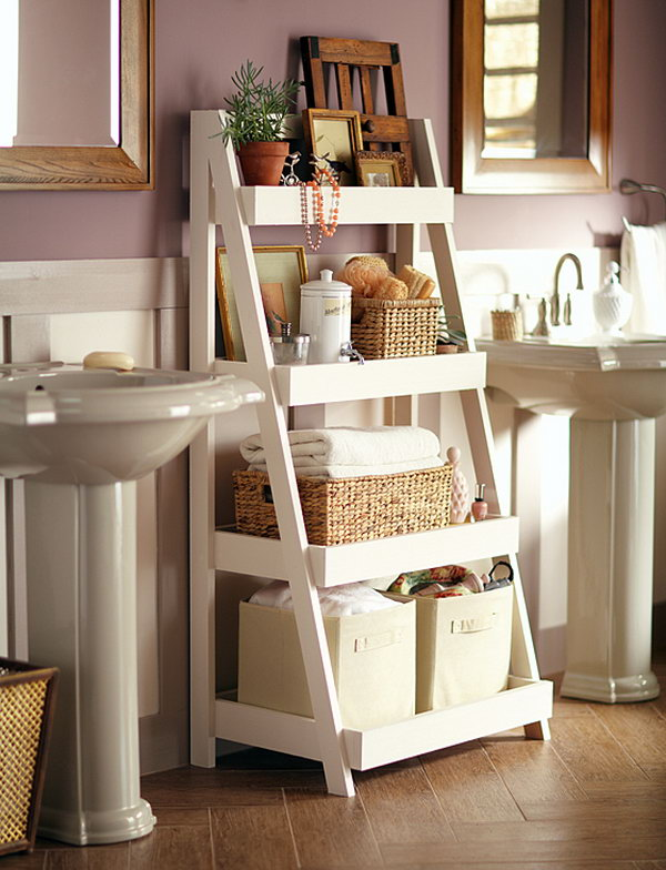 This Attractive Bathroom Ladder Shelf Provides Plenty Of Space For Towels,  Soap, Cosmetics And