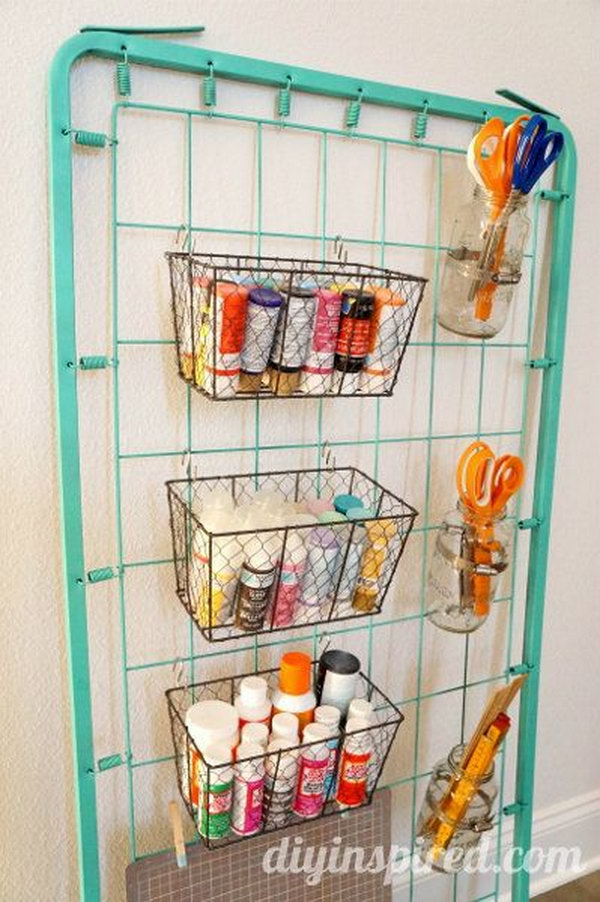 Use An Old Bed Spring As A Genius Way To Store All Of Your Craft Supplies