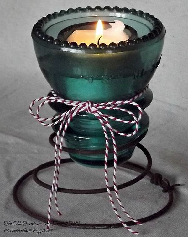 Diy bed spring crafts hative for Insulator candle holder