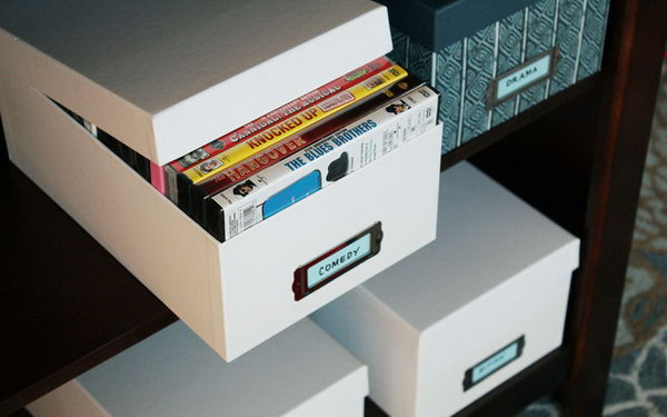Charming Recycled Shoe Boxes Can Organize Your DVD Collection While Looking Nice On  A Shelf.