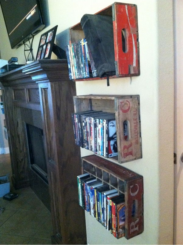 Bon Attache These Vintage Soda Crates To The Wall On Either Side Of The  Fireplace For DVD