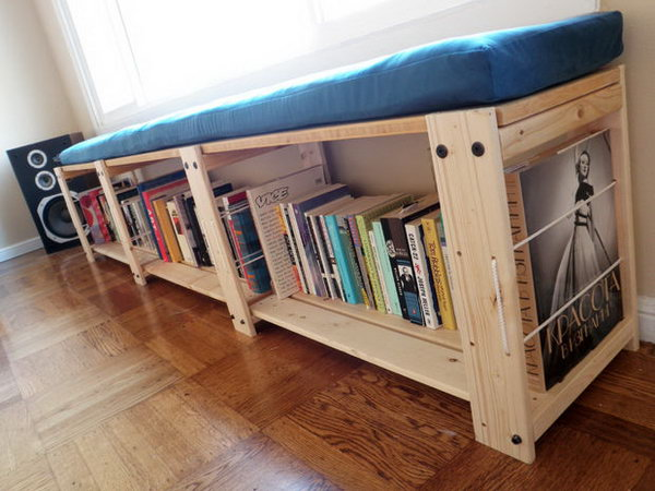 Superb Convert A IKEA Gorm Shelving Unit Into A Stylish Bench For Books And DVDS  Storage.