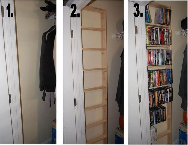 Build A DVD Shelf Inside Of The Hall Closet To Maximise The Space.