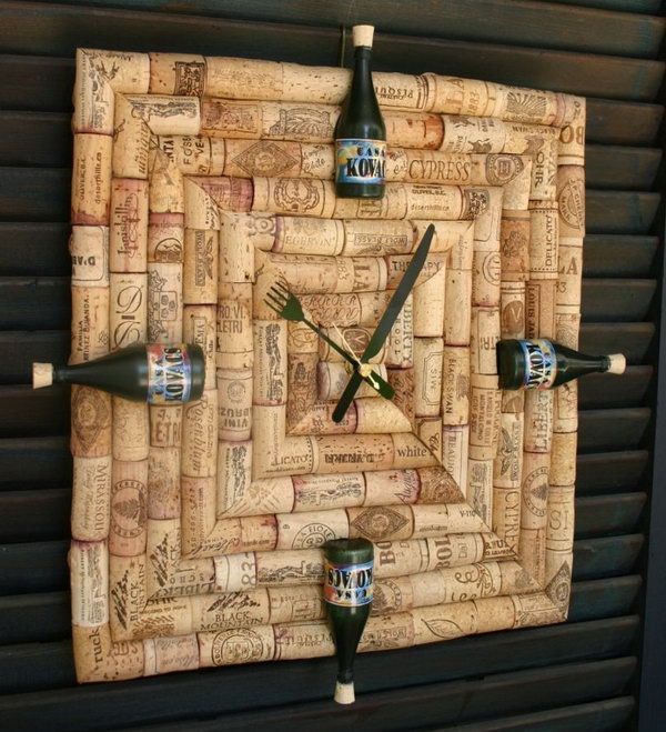 Wine cork clock with custom wine labels on bottles that have replaced the all too familiar numerals. Perfect for anyone who always has time for wine.