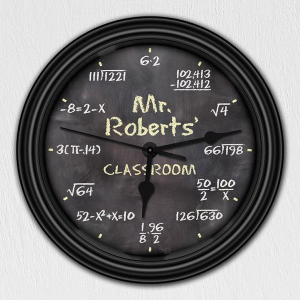 Math chalkboard wall clock for kids or classroom.