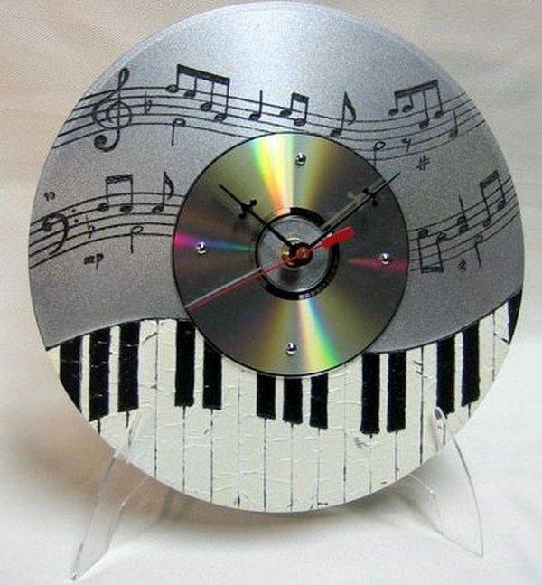 Recycle unwanted CD's into musical clocks. All you need is a little artistic hand to plan your piano key design.