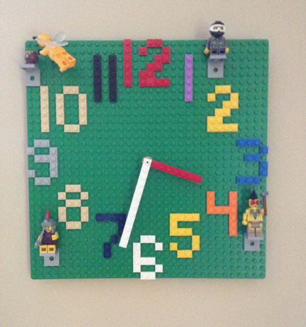This fun Lego wall clock is not only great for decorating your kid's room but perfect for teaching time with its easy to read numbers.