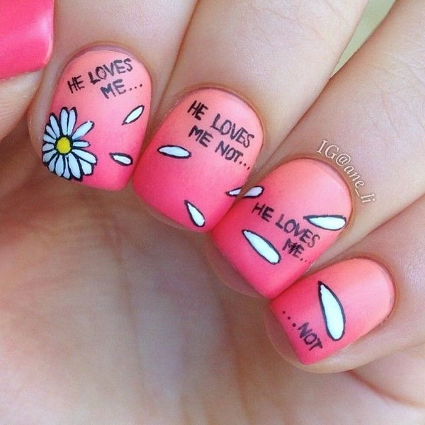 Girly Nail Art Designs: Cute Dandelion Nail Art Designs