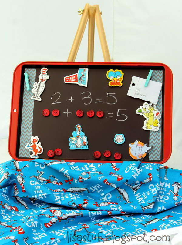 Dr.Seuss inspired magnetic activity board made from an old cookie sheet.