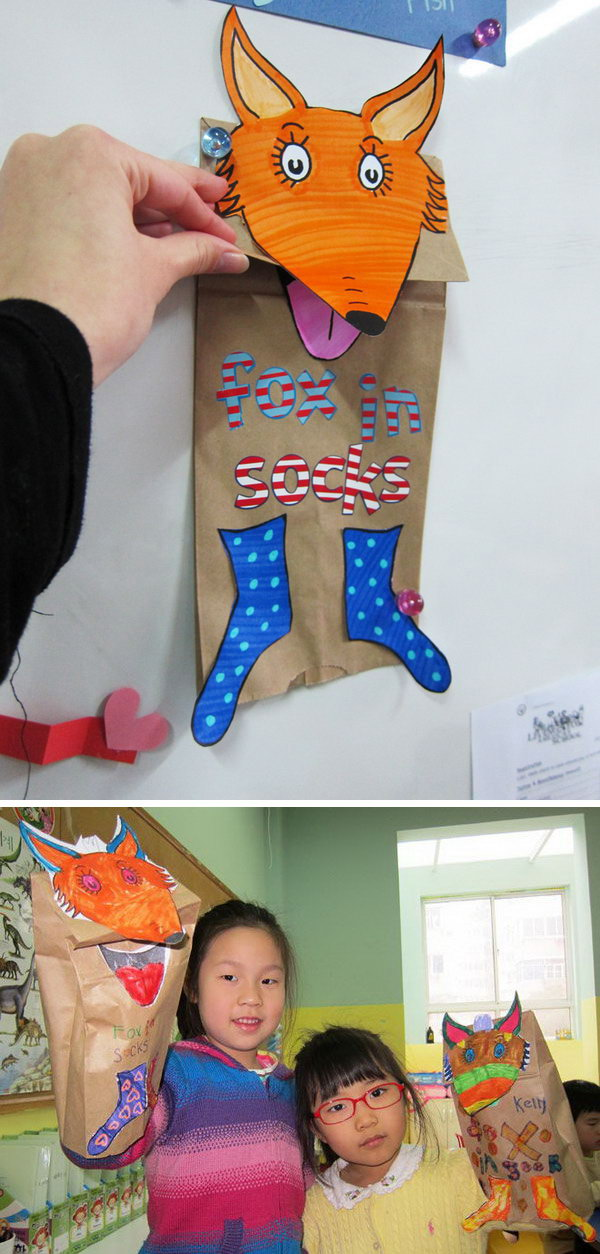Dr. Seuss crafts inspired by the book 'Fox in Socks'.
