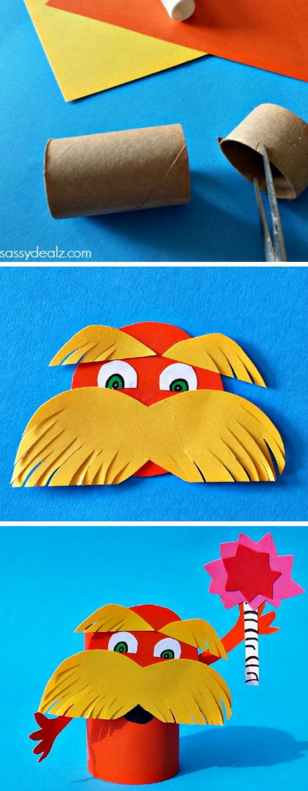 Lorax toilet paper roll craft for kids inspired by Dr. Seuss' book The Lorax. It was pretty easy to make and only required a lot of cutting.