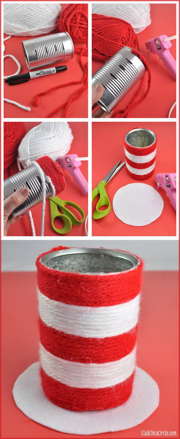 Easy dr seuss crafts - Turn A Recycled Aluminum Can Into A Cute Wrapped Yarn Pencil Cup Craft The Book 8 Dr Seuss Crafts