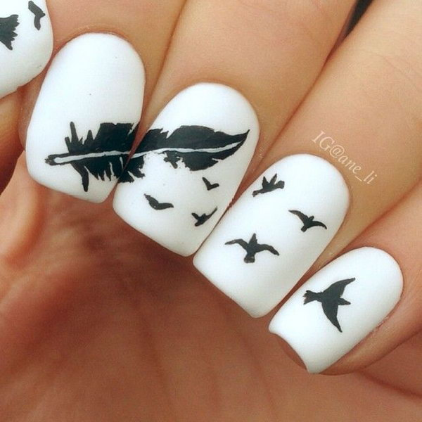 When it comes to nail art or manicures, there are so many choices. Feather - Creative Feather Nail Art Designs - Hative