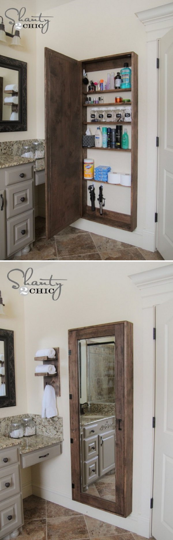 20 clever hidden storage ideas hative - Bathroom mirror with hidden storage ...
