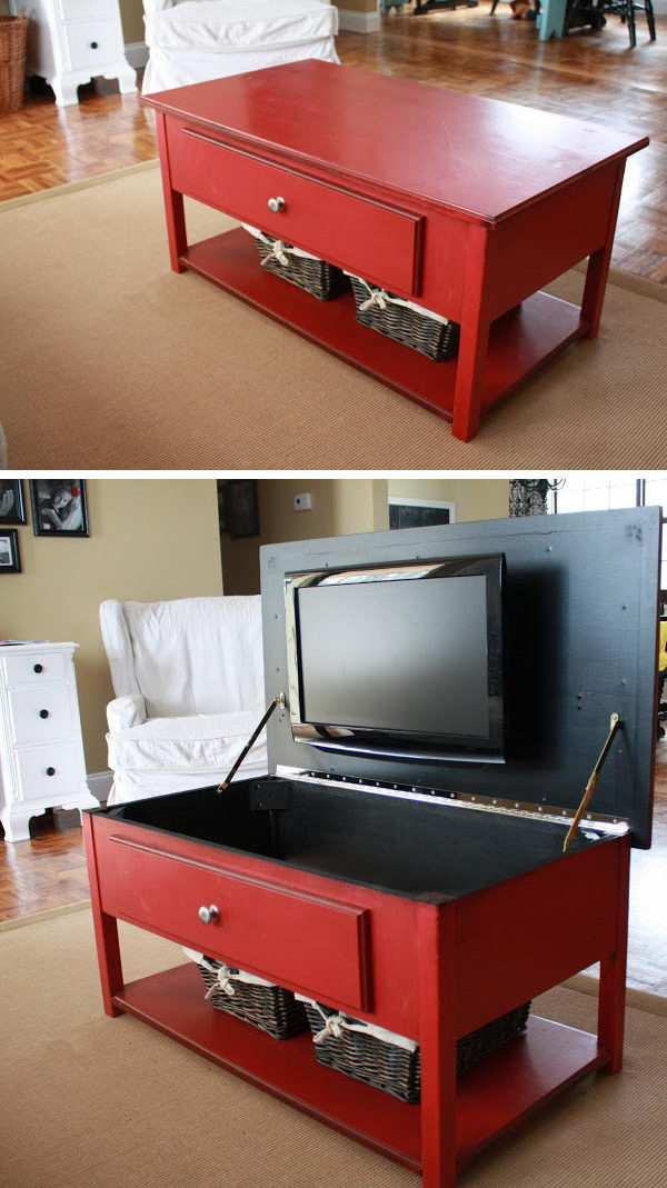 Hide your bedroom TV in this coffee table.