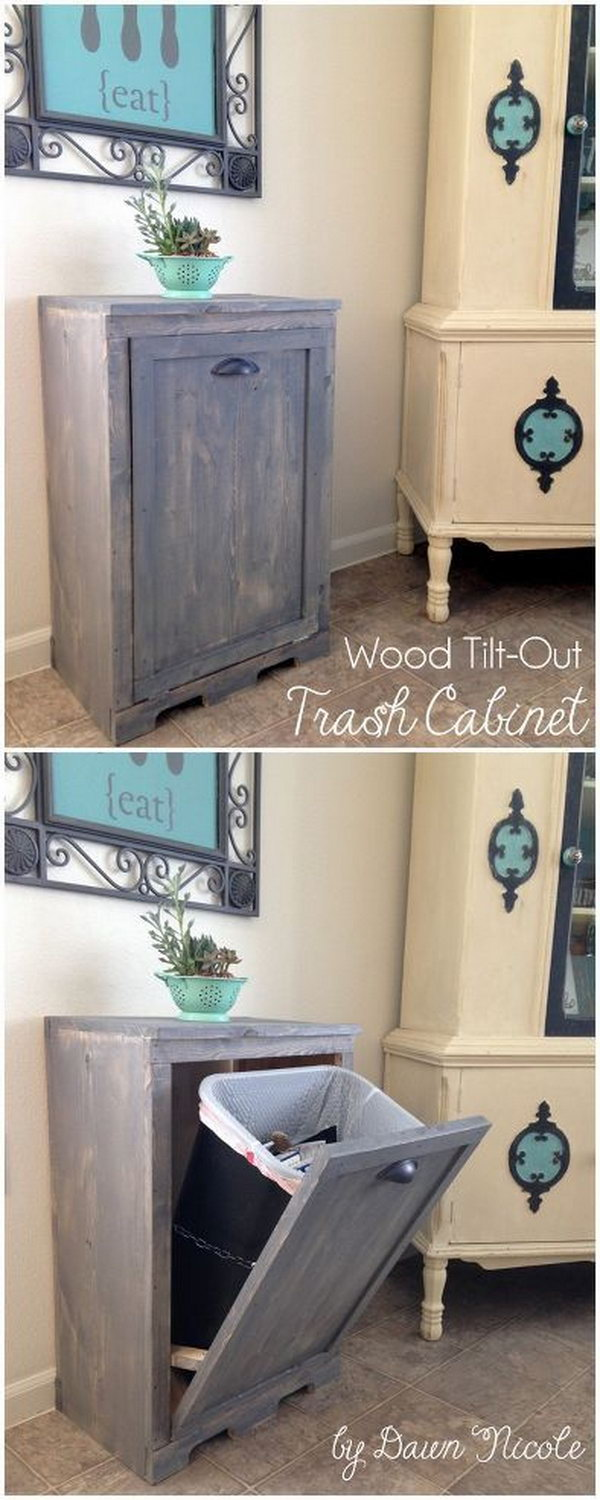 Hide your trash can in style with this tilt open door cabinet.