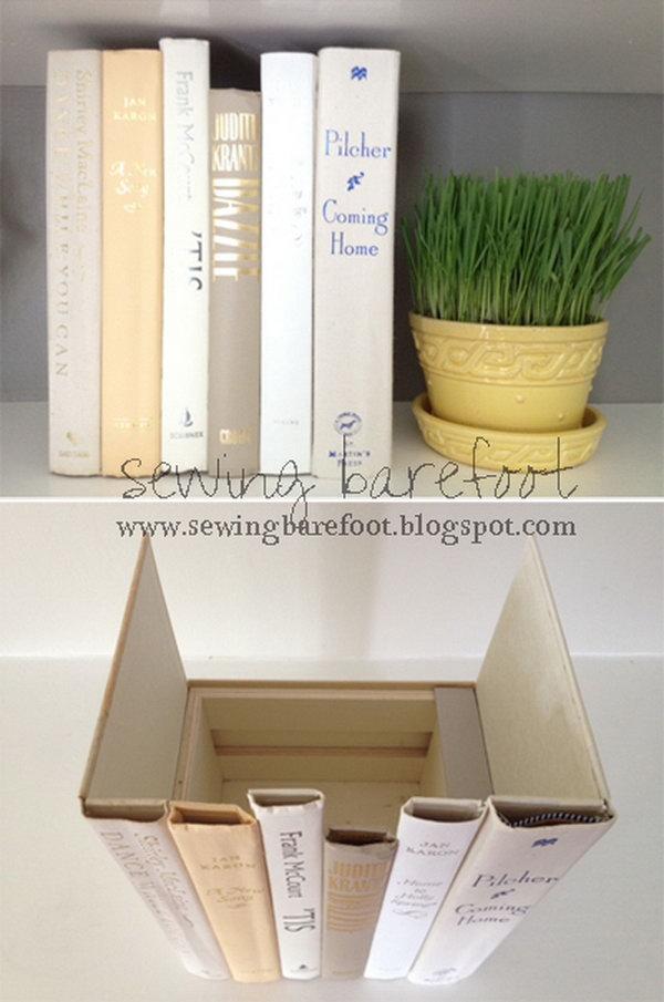 Hidden storage behind the books spines,