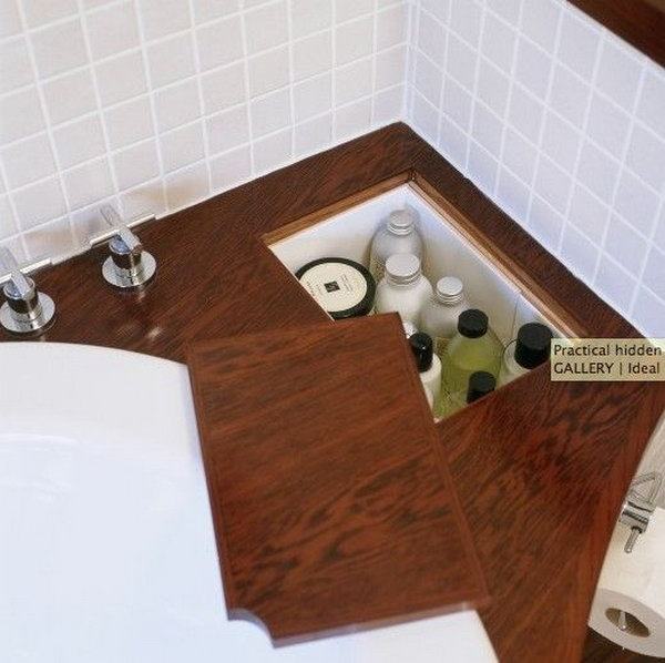 Hidden storage in bathroom for tub, shampoo and conditioner, etc.
