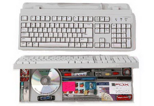 This hollow computer keyboard provides a good place to store little items.