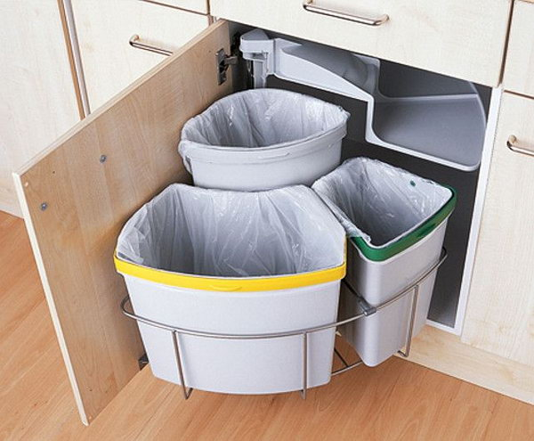 Floor space is always at a premium in a small kitchen, so integrate your bin if you can. Choose a split bin, such as this Three Section Swing Eco Bin from Magnet Trade and it'll make recycling or composting a doddle too.