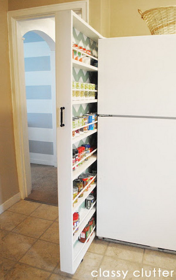 A Diy Rolling Canned Food Organizer Made By Classy Clutter. It Uses The Small  Space
