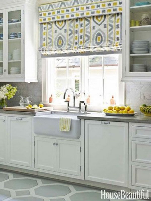Yellow And Gray Kitchen Window Treatment,