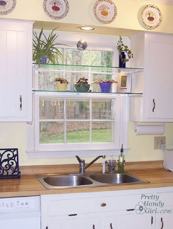 Delightful DIY Glass Shelves In Front Of Kitchen Window,