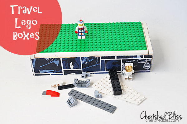 Travel Lego box made from a flip top box.