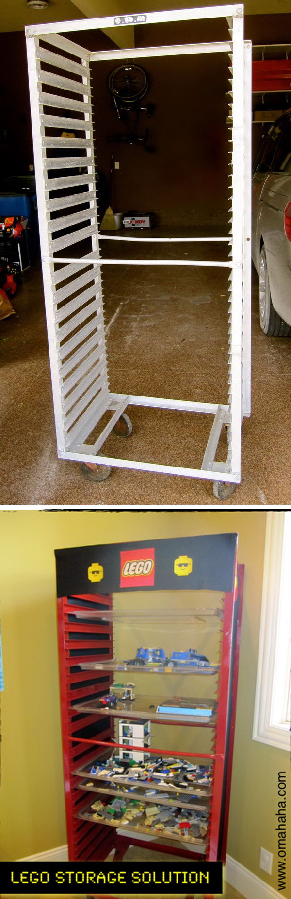 A LEGO storage made from a bun pan rack. Kids can stack their works in progress on a tray and slide them in the rack.
