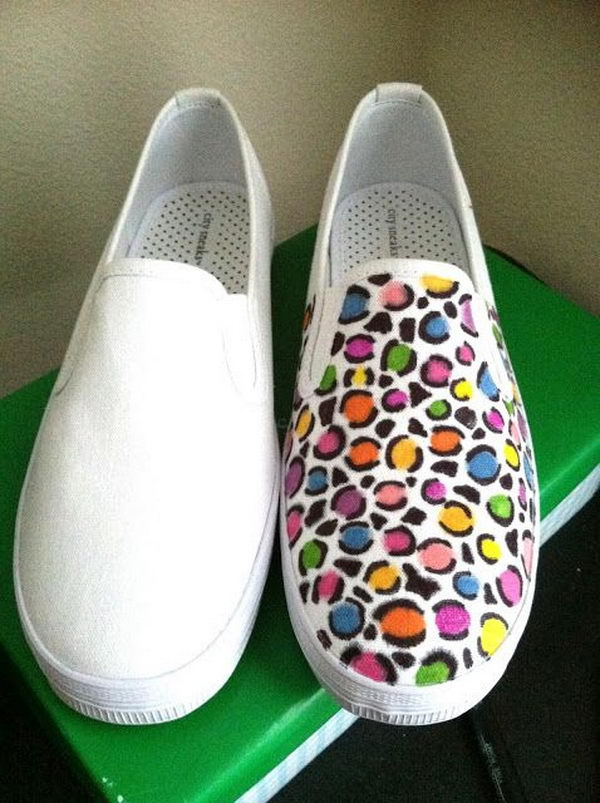DIY Colorful Leopard Print Shoes. http://hative.com/creative-leopard-print-shoes-ideas/