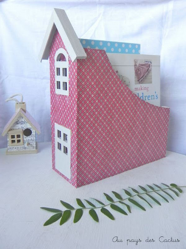 It would be a great kids room idea with this magazine storage box decorated like a house.