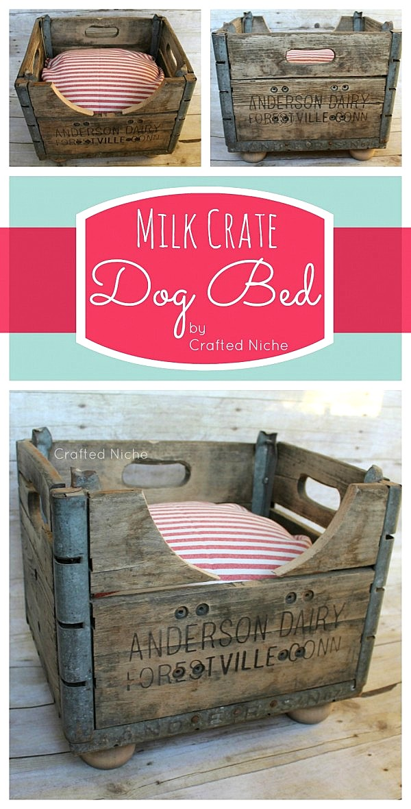 What a cool idea for this milk crate dog bed.