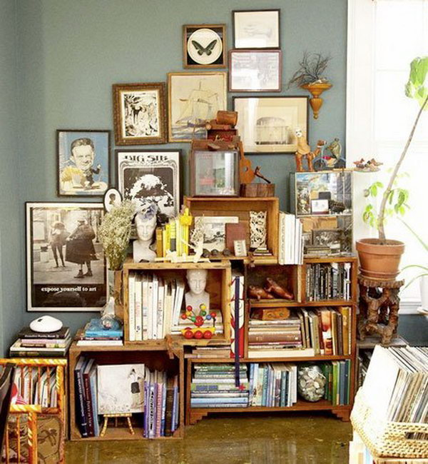DIY bookshelves from wooden crates.