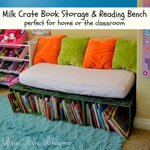 The milk crate book storage and reading bench encourages kids to sit down with books during the day and is also a perfect place for reading a bedtime story each night.