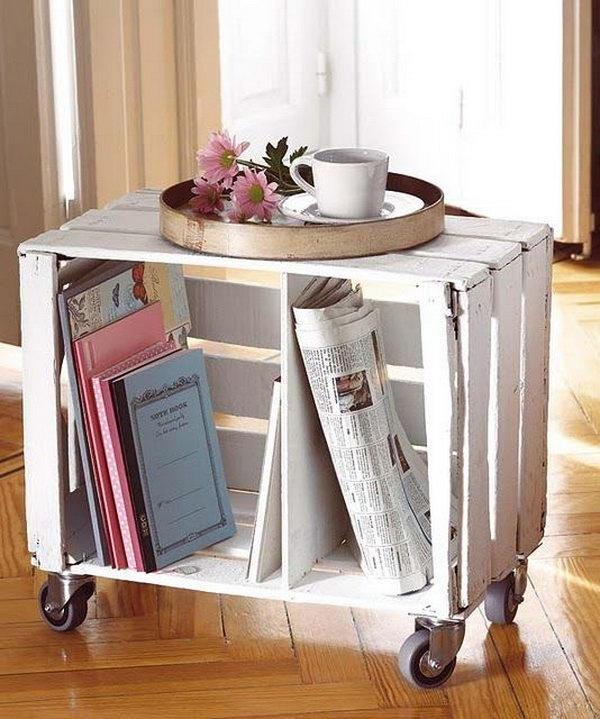 Diy ideas with milk crates or wooden crates hative for Painted crate ideas